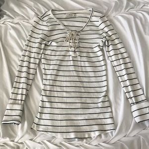 Lace Up Striped Top